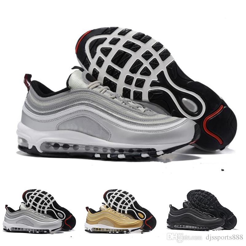 0c1486fd4716 Acquista 2018 Hot Nike Air Max 97 Mens Low Casual Outdoor Walking Scarpe  Cuscino Uomo Donna Taglia 36 45 Silver Gold Anniversary Edition Athletic  Trainers ...