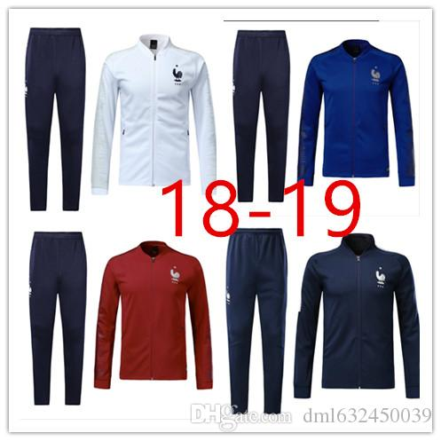 7f01e4d22 2018 world cup France long sleeve Jacket suit kit Soccer Jersey France blue  red white Training uniform 2018 football uniform jacket+pants