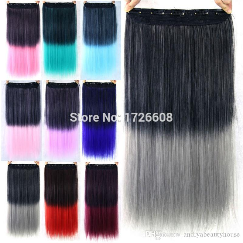 High Quality 24inch 5 Clip In Hair Extension Ombre Black Gray Blue
