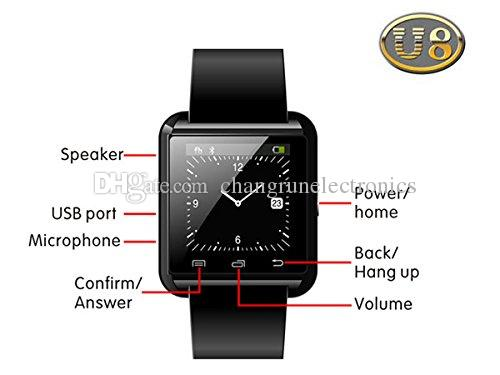 Smart Watch U8 Bluetooth WristWatch for i Phone Note 2/Note 3 Android Phone Smartphones