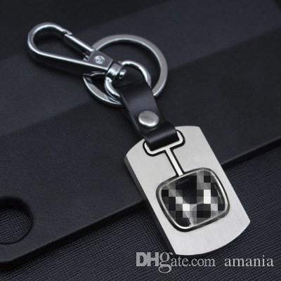 Genuine Leather Car keychain for Volkswagen Toyota Honda NISSAN Keychain Hollow silver plated Key Ring