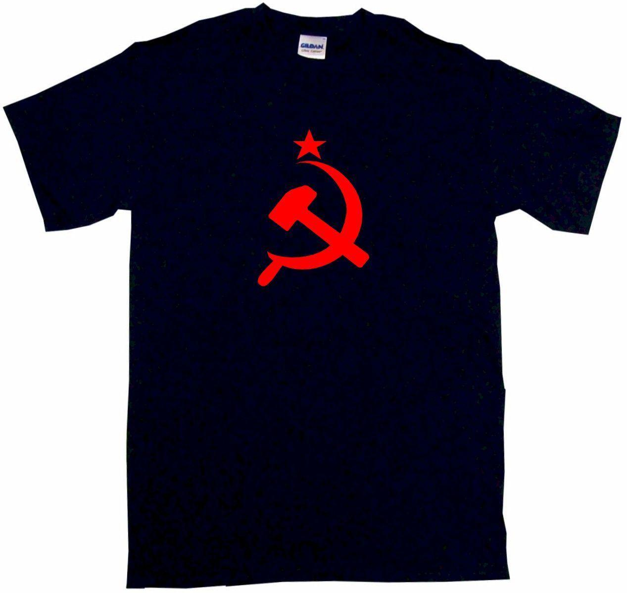 Russian CCCP Hammer & Sickle Flag Logo Mens Tee Shirt Pick Size Color Funny free shipping Unisex