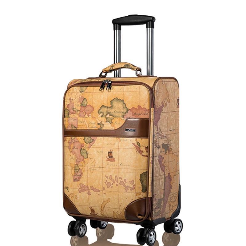 Купить Оптом Женская Ретро Карта Багажа Серии 20 24 Дюйма Pu Rolling Bag  Spinner Brand Men Business Travel Bag Тележка Чемодан На Колесах Отdryaet В  ... f243334a0af
