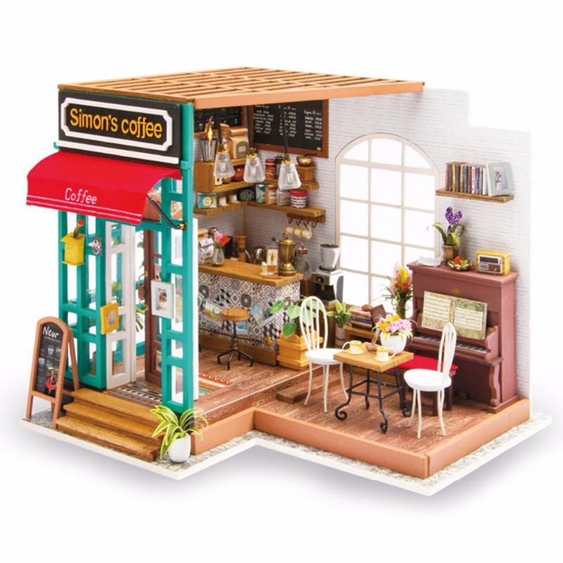 Großhandel Puppenhaus Miniatur Diy Puppenhaus Mit Möbel Holzhaus  Handgefertigte Montage Modell Spielzeug Für Kinder Simon Kaffee Dg109 Von  Cyg2622, ...