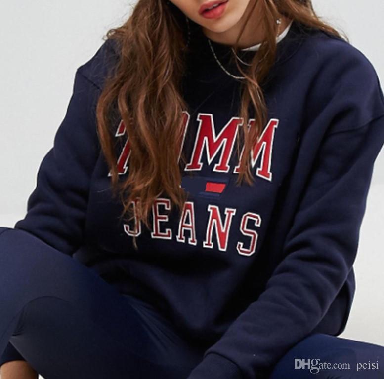 wholesale dealer b9047 e444c Marke Frauen Mode Brief Drucken Sweatshirts Gute Qualität Frauen Hoodie  Sweatshirt 100% Baumwolle Casual Männer O-Ausschnitt Pullover Schöne Tops