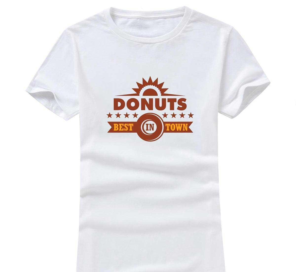 Donuts Pattern 2017 New Fashion Women/Men Cotton O Neck Short Sleeve Print Casual T-Shirts loose Personalized unique Tees Wholesale