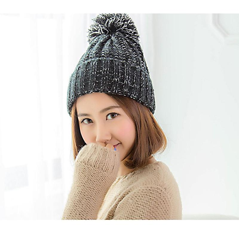 71ab916e532 C 2018 Autumn Winter Female Hats Hot Selling Knitting Ball Wool Cap Hat  Casual Caps For Women Beanies Baseball Cap Slouchy Beanie From Playnice