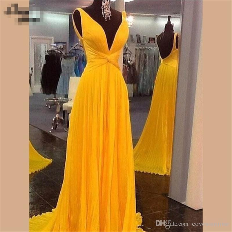 Elehant Vestidos de noche de color amarillo oscuro Largo y sexy Cuello en V Una línea Vestido de fiesta de gasa con espalda abierta 2018 Vestidos de fiesta baratos