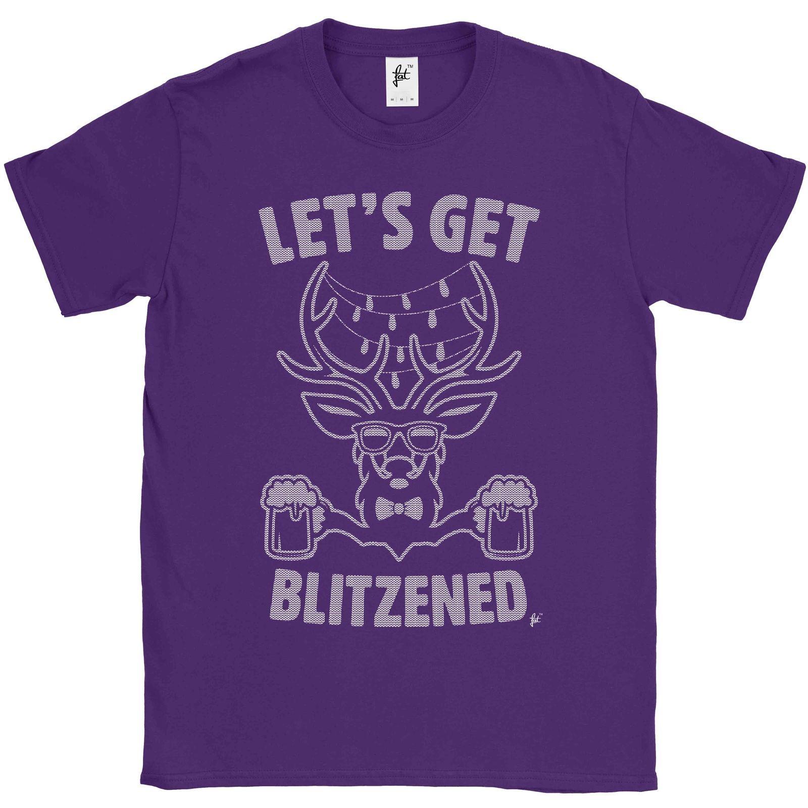 22ca61b5 Let'S Get Blitzened Christmas Reindeer Drinking Beer Mens T Shirt ...