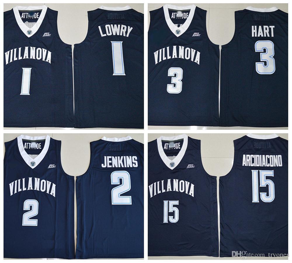 9d0a8a531c48 2019 2017 Villanova Wildcats College Basketball Jerseys 1 Kyle Lowry 15  Ryan Arcidiacono 3 Josh Hart 2 Kris Jenkins Shirts Stitched Jersey Lowry  From ...