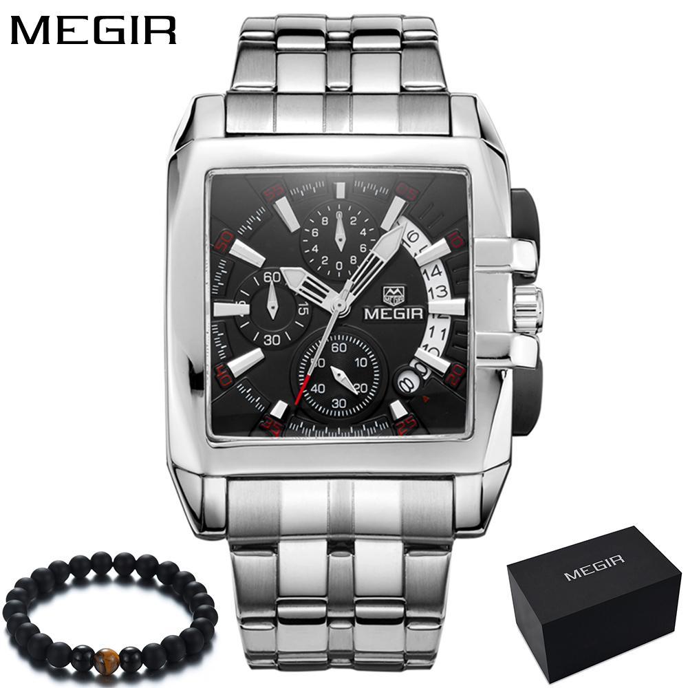 9a635325c7e Compre Original Big Dial Megir Homens Relógio Cronógrafo De Quartzo De Aço  Inoxidável Marca Relógio De Pulso De Negócios Relógio De Luxo Homens Reloj  Hombre ...