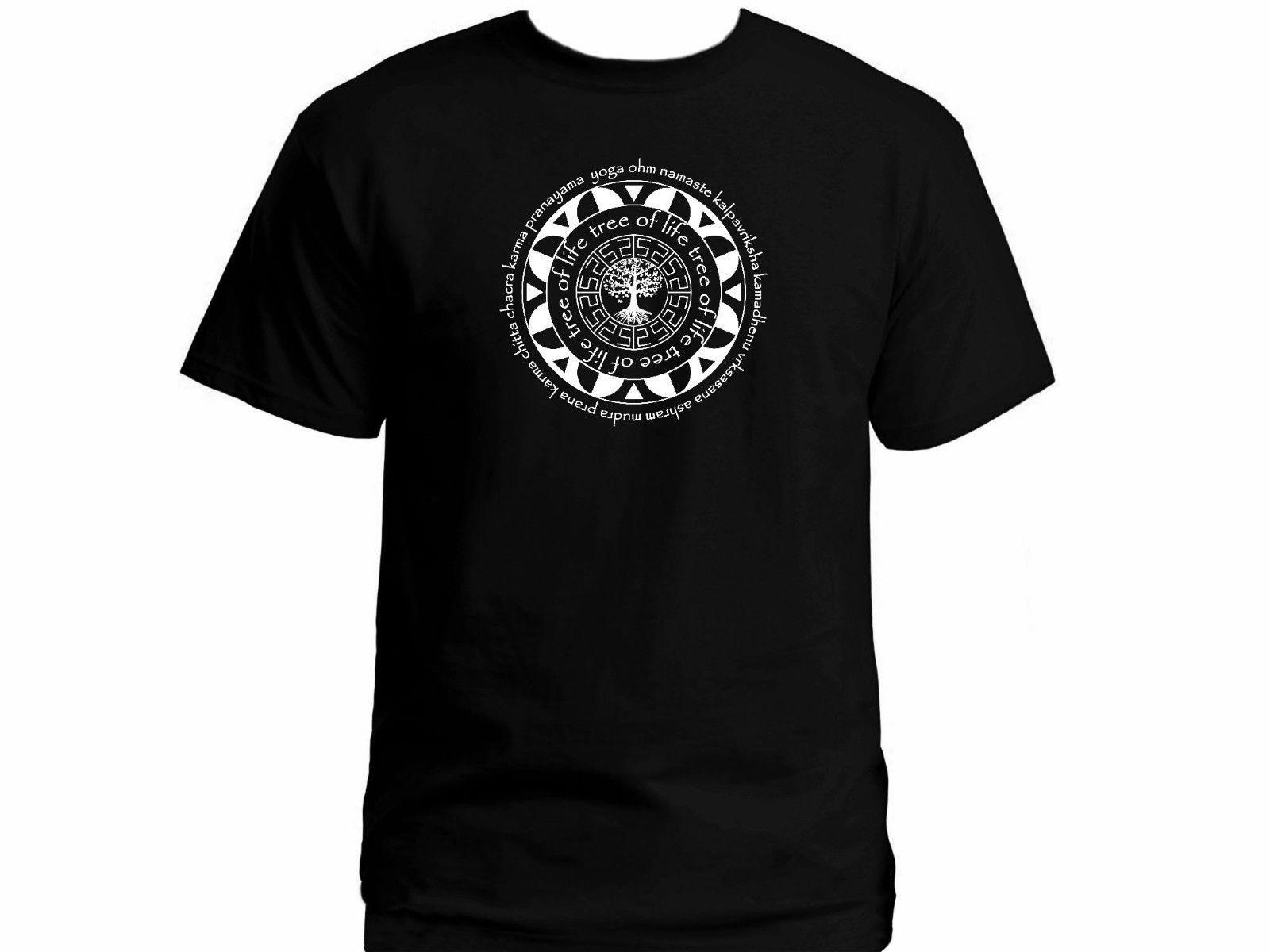 Compre Términos De Yoga Del Sagrado Arte Mandala Árbol De La Vida Namaste  Tantra Chakra Camiseta US XXL A  11.58 Del Customizedshirts46  de1037299908f
