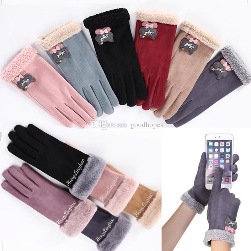 7b14f46f3 2019 Women Winter Outdoor Gloves Fleece Lined Ladies Glove Touch Screen  Fashionable Warm Gloves Suede Fabric Gloves Valentine Day Christmas Gifts  From ...