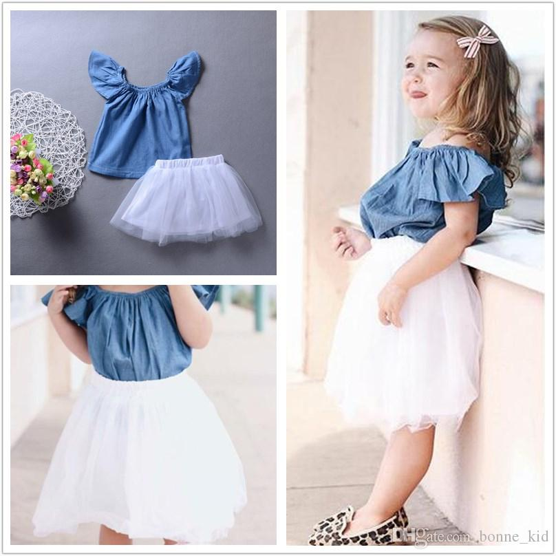 3a58ed4d4489 2019 Kid Baby Girl Princess Tutu Dress Boutique Girls Clothes Denim Top+ Lace  Skirt Outfit Baby Girl Clothes Lovely Kids Clothing 6M 5Y From Bonne kid