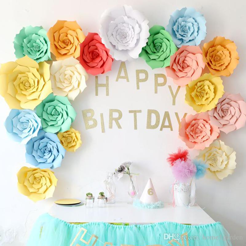 2019 20cm30cm40cm Diy Paper Flowers Kids Birthday Party Backdrop