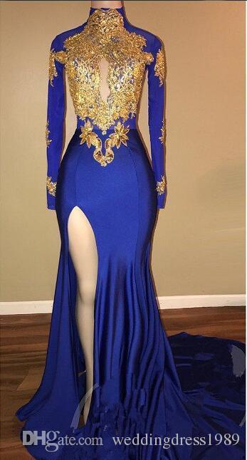 Sexy abiti da sera a sirena spaccata blu royal chiffon oro applique Arabia vestidos de festa party dress prom formica pageant celebrità abiti