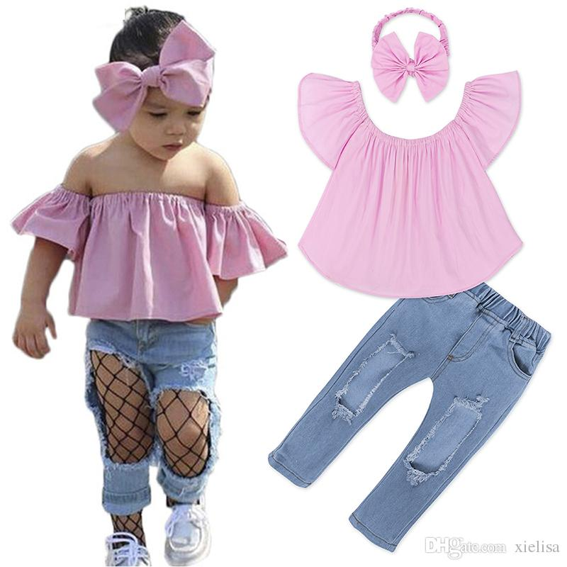 Kids girls set 2018 Baby Girl Off Shoulder pink T Shirt Tops + white Shorts Outfit children Clothes Sets 1-6y girl clothes TZ525