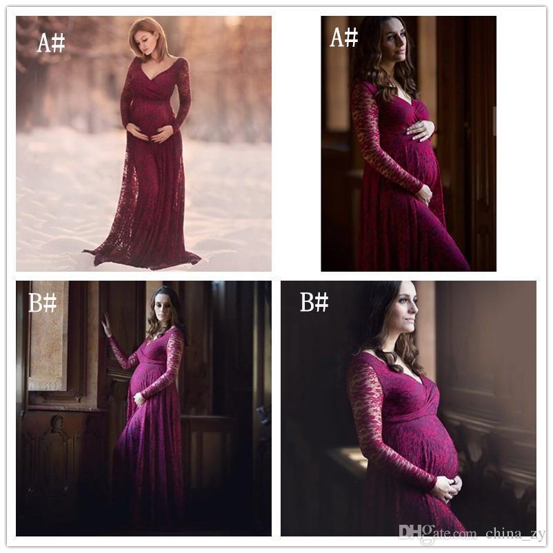 8e095e5331a01 Women Dress Maternity Photography Props Lace Pregnancy Clothes Elegant  Maternity Dresses For Pregnant Photo Shoot Cloth Plus