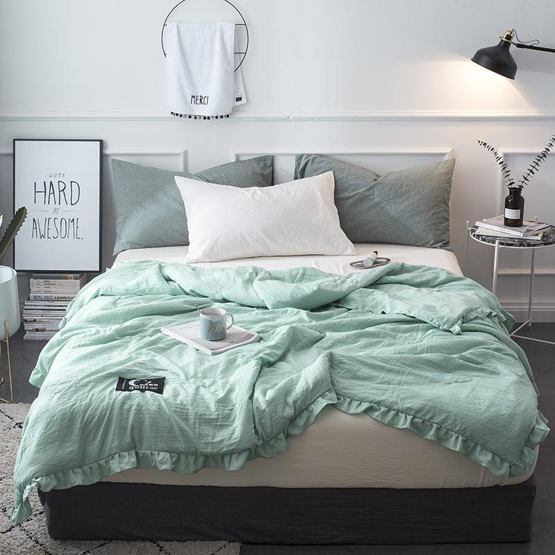 Großhandel Sommer Grün Patchwork Quilts Rüschen Bettdecke Bettdecke