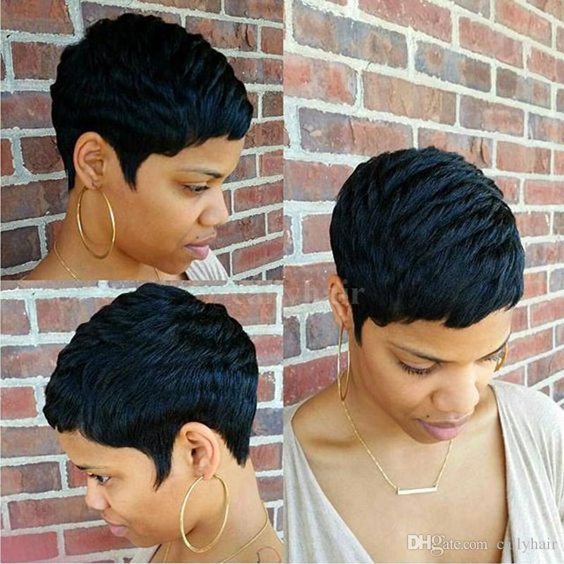 Human Short Hair Glueless Wig With Bangs Cheap Pixie Cut African