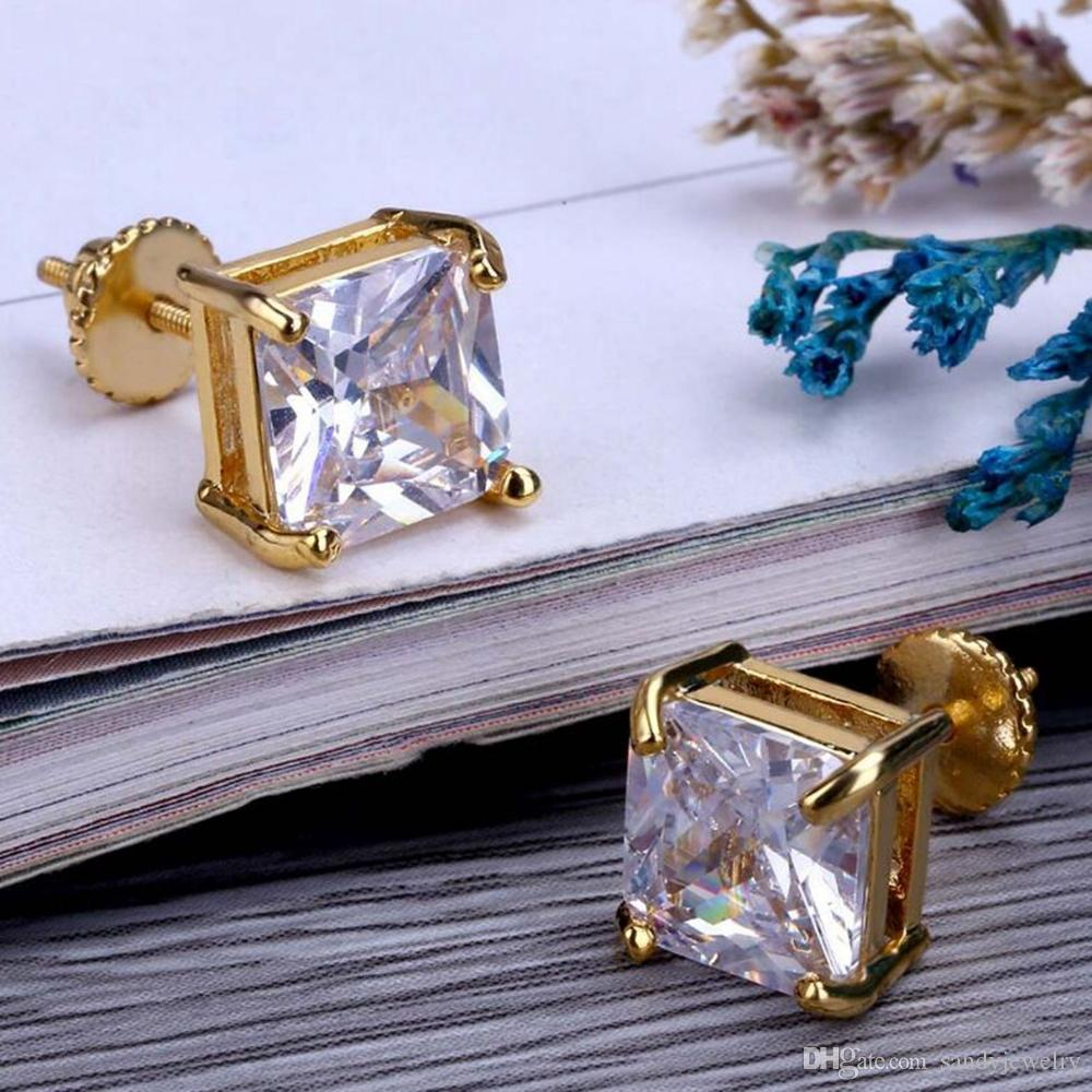 Hip Hop Bling Stud Earrings Gold/Silver Color Iced Out Micro Pave 8mm CZ Stone Lab D Earrings With Screw Back
