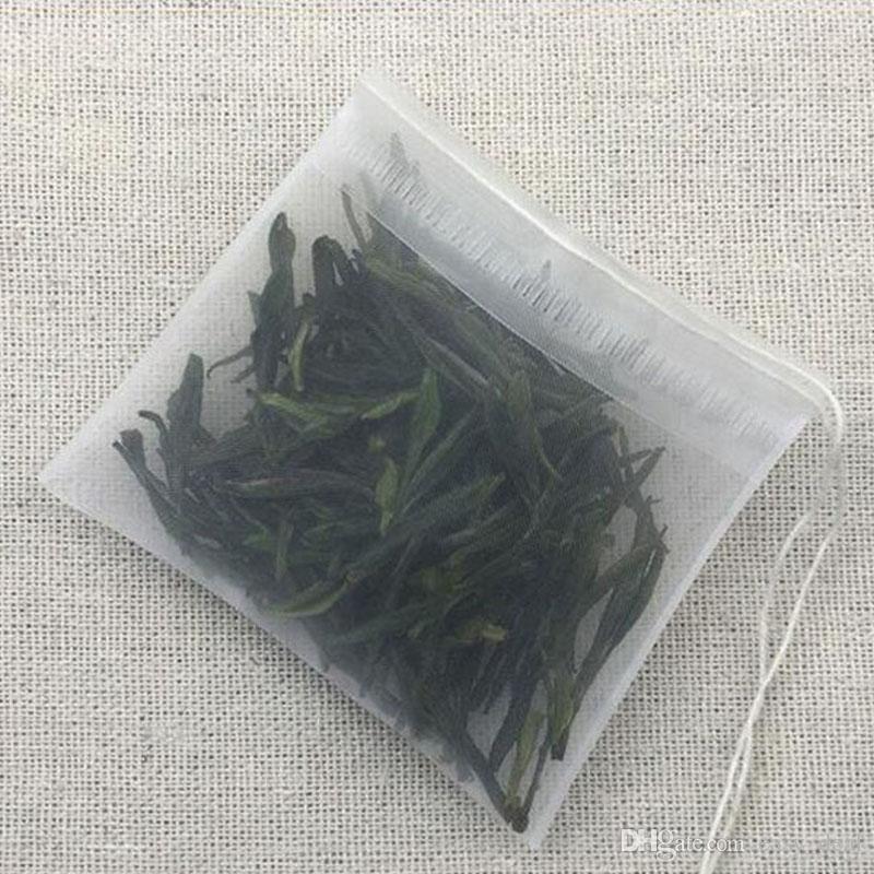 7X9cm Nylon Tea Pouches Tea Filter Bags Strings Semi-transparent Reusable Home Office Tea Tool ZA5676