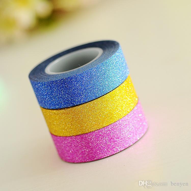 2019 Wholesale 10M DIY Self Adhesive Glitter Tape Washi Paper Tape Sticker  Wedding Birthday Festival Decoration Home Decor Adhesive Tape From Benyen 9224bbf8351e