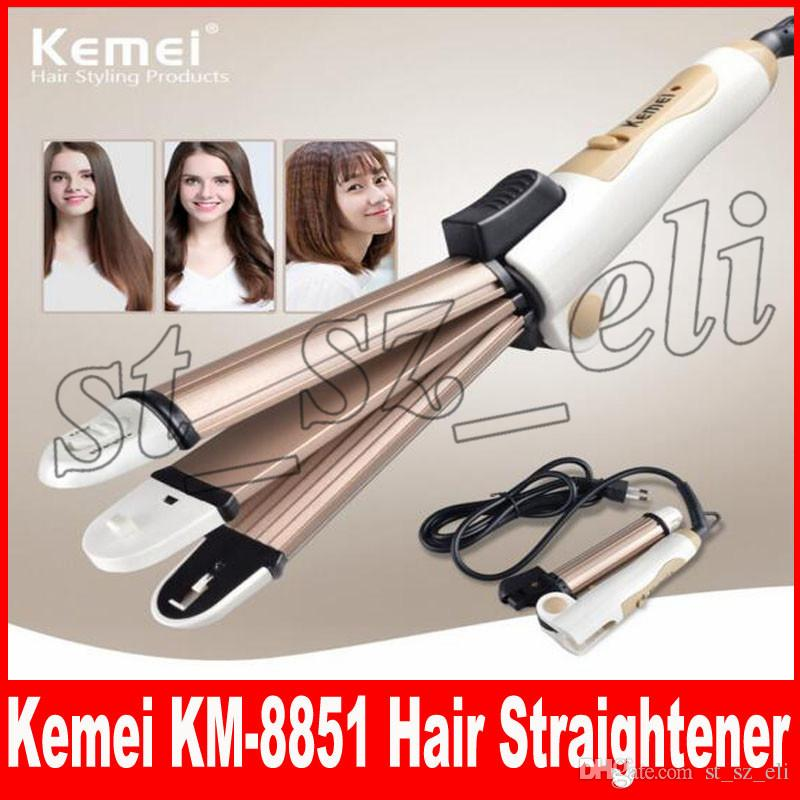 Kemei 3 In 1 Hair Straightener EU Plug Hair Curling Iron Multifunction  corrugated Flat Iron Corn Plate Heated Roller KM-8851