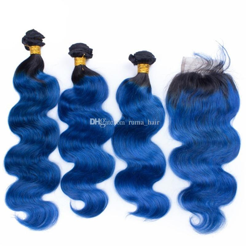 1B Ocean Blue Body Wave Hair Ombre Brazilian Virgin Human Hair Extension Bundles With 4x4 Lace Closure Natural Hairline