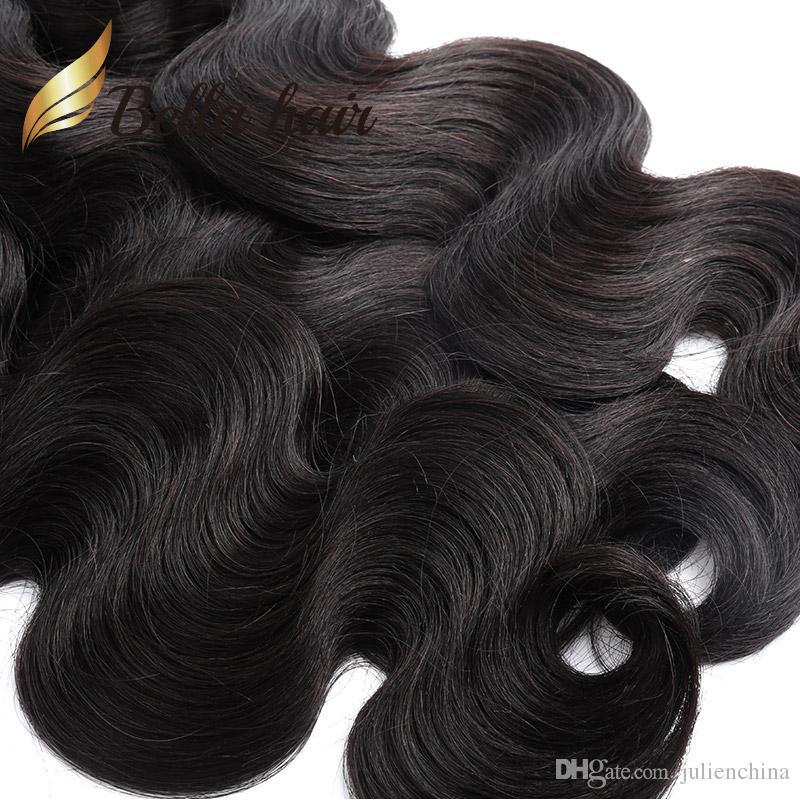 Bella Hair® Billigaste / Body Wave Brasilianska Hårförlängningar 7a Human Hair Weaving Soft Donor Hair Buntlar U.S. Gratis frakt