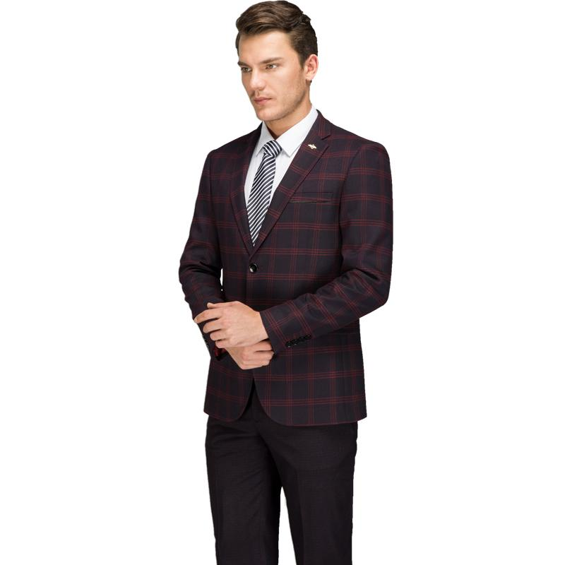 a87ba45b33 2019 Plaid Costume Suits Men 2018 Hot Latest Coat Pant Designs Red Blue Slim  Fit Business Suit Set High Quality Man Dress Costume From Nevalee, ...