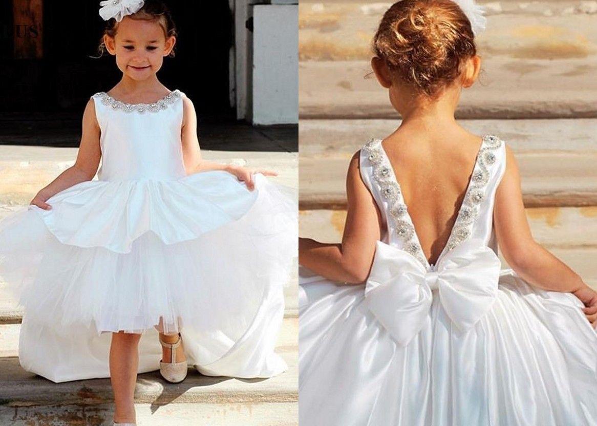 39cde3600fea 2019 Cheap White Jewel Flower Girl Dress Hi Low V Backless Crystal Ruffles  Satin Short Front Long Back Big Bows For Kids Juniors Pretty Flower Girl  Dresses ...