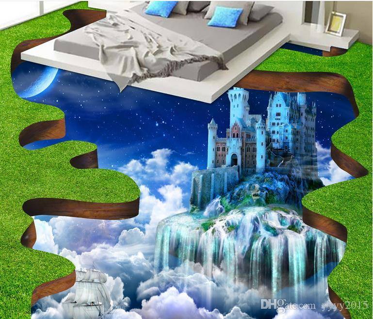 3d wallpaper brick Creative Aerial Castle Washroom Bathroom Bedroom 3D Floor wall papers home decor designers