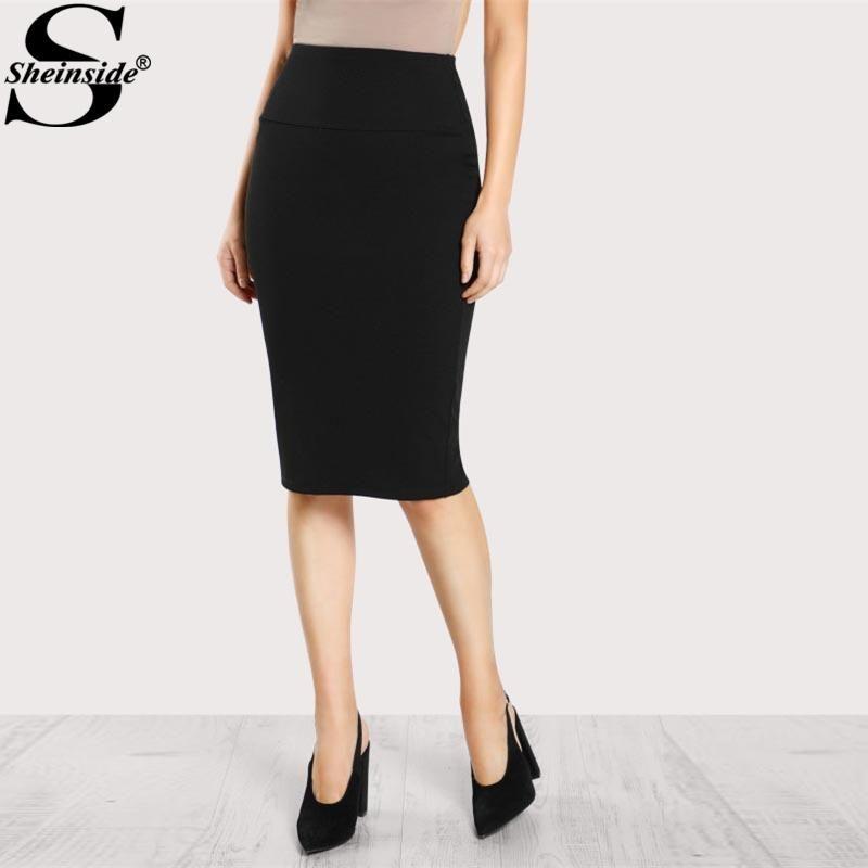 17f4917509 2019 Sheinside 2017 Elastic Waist Pencil Skirt Black Mid Waist Knee Length  Plain Skirt Women Work Wear Elegant Autumn Skirt From Linyoutu1, $15.06    DHgate.