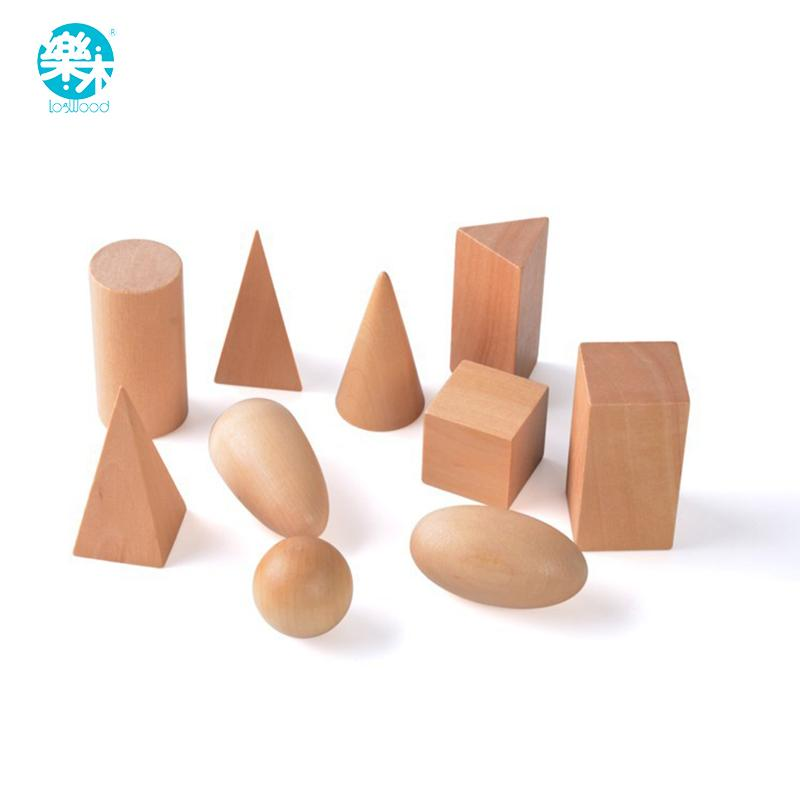 Montessori Education Wooden Toys Geometric Shapes Solids Geometry Blocks Set Learning & Education Cognitive Math Toys 10pcs/set