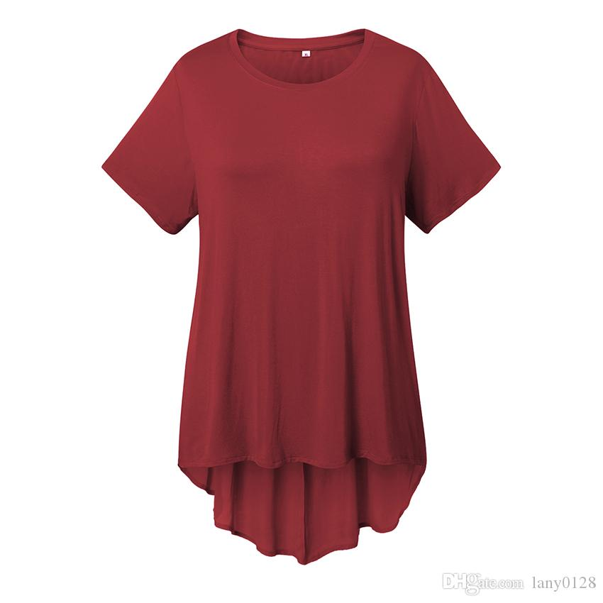 db1f5162d5c Women Plus Size Short Sleeve Pleated Long Back Tunic Tee Shirt Big Size  Solid Female Crew Neck Loose Tee Shirt Summe Cheap T Shirts For Sale Online  One Day ...