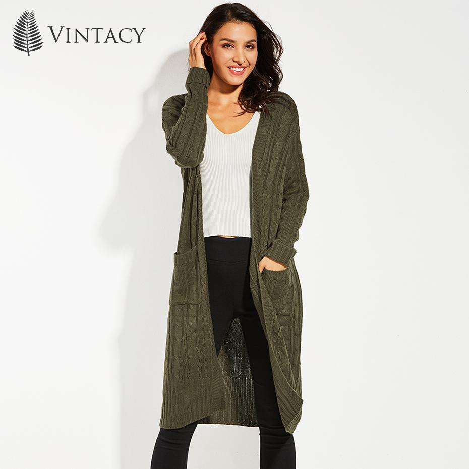 6c7340b2a07 Vintacy Long Cardigans Women Army Green Solid Pocket Long Sleeve Autumn  Winter Sweater Cardigan Female Casual Knitted Coat 2017