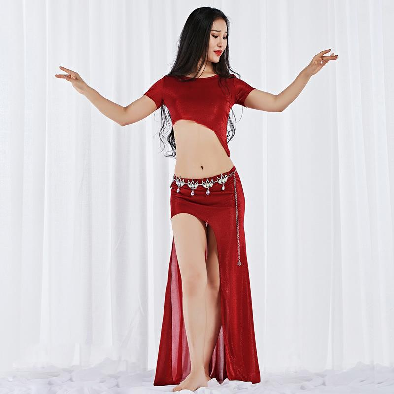 34b4bafc1894 2019 New Style Women Dance Wear Girls Belly Dance Costume Long Maxi Skirt  Side Slit Outfit Elastic Sparkles Asymmetrical Dresses From Aprili, ...
