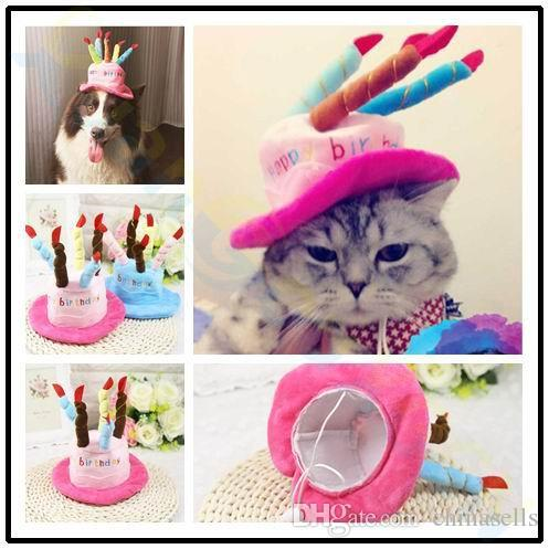 Xmas Halloween Decoration Pet Cat Dog Caps Happy Birthday Hat With Cake Candles Design Party Teddy Poodle Cute Style Hats Costumes For Sale