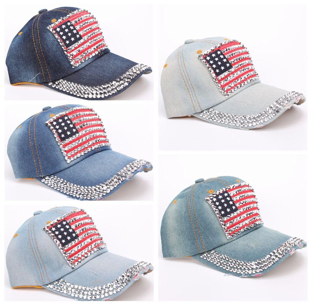 e7d9d28529d7f Fashion Baseball Cap Women Men American Flag Rhinestone Jeans Denim  Baseball Adjustable Bling Snapback Hat Cap DDA478