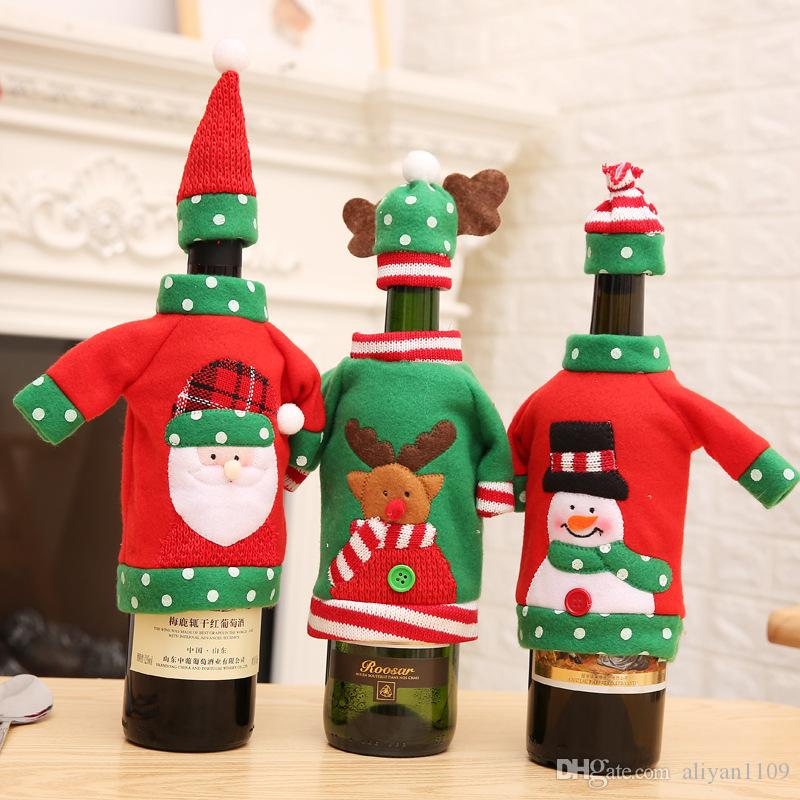 12*18cm Clothing Shaped Wine champagne Bottle Cover Gifts Bags With 3 Styles Caps Christmas Decorations Festival Party Supply For New Year
