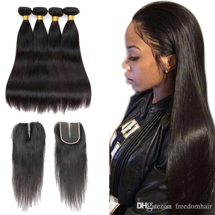 Cheap Brazilian Straight Virgin Hair With Closure 3 Bundles With