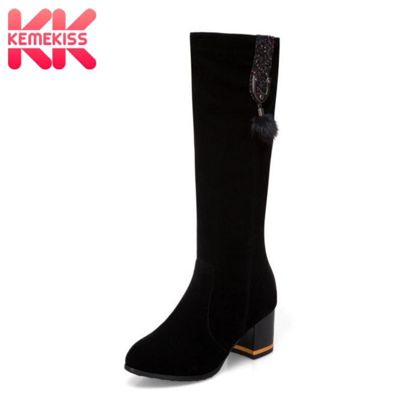 cheap for discount 41306 3d890 KemeKiss Größe 32-43 Lange Stiefel Winter Damenschuhe Pelz Warme Mode Glanz  Kniestiefel Starke Ferse Lange Damen Schuhe