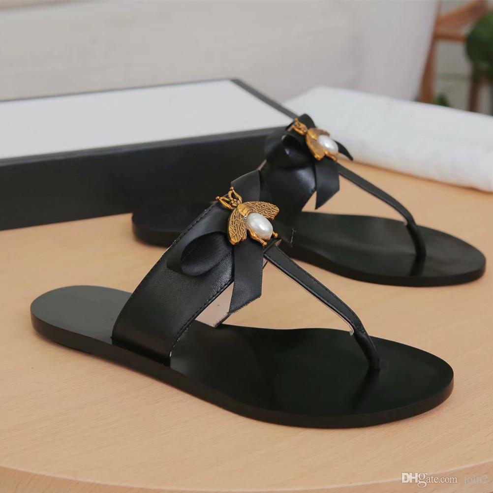 70a2265ae Italy Designer Leather Flat Sandals With Bee Bowtie Womens Shoes Slippers  EU35 42 777 Heeled Sandals Boys Sandals From Join2, $59.08| DHgate.Com