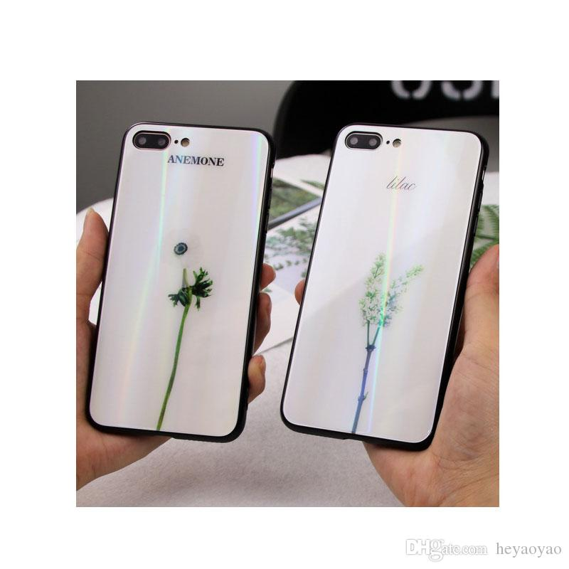 1 Pc/Lot Laser gradient color Small fresh flower pattern case for Vivo x20 x20 plus x9/x9s x9 plus glass Cell phone cases + Ring bracket