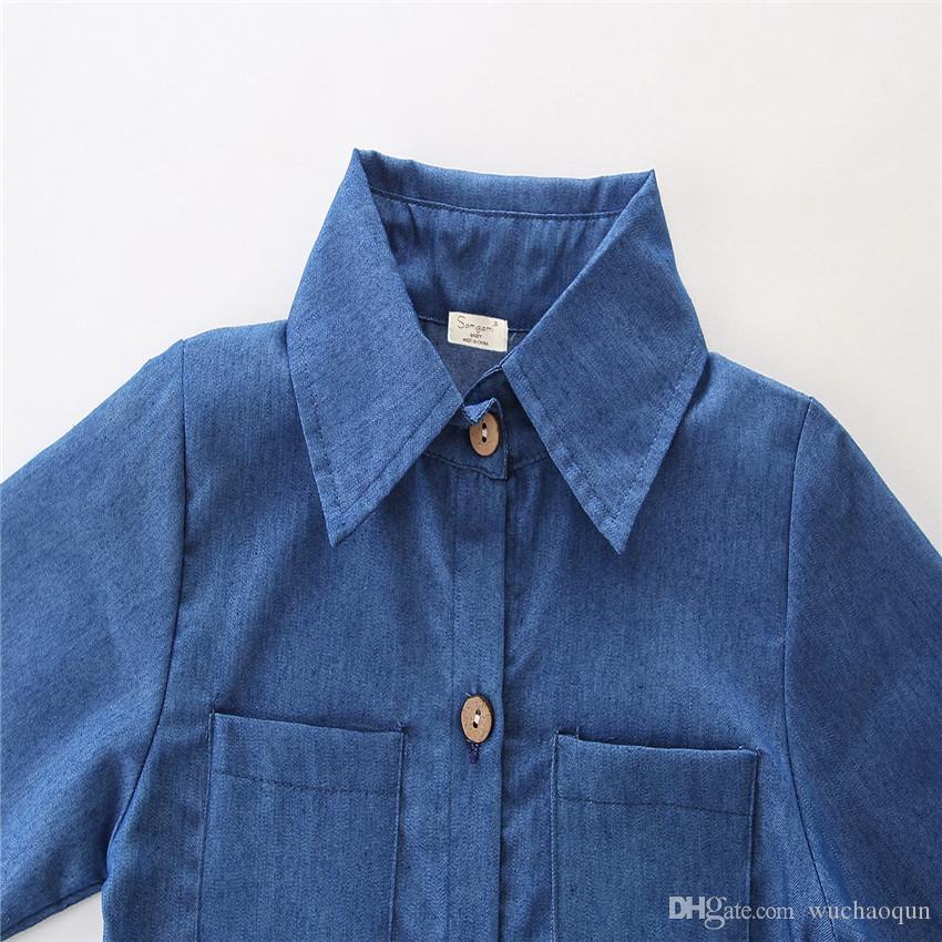 2018 Vestiti di moda bambini Ragazze INS denim abiti camicia a maniche lunghe in denim + Gonna in pelle 2 pezzi set suit Baby bambini abbigliamento