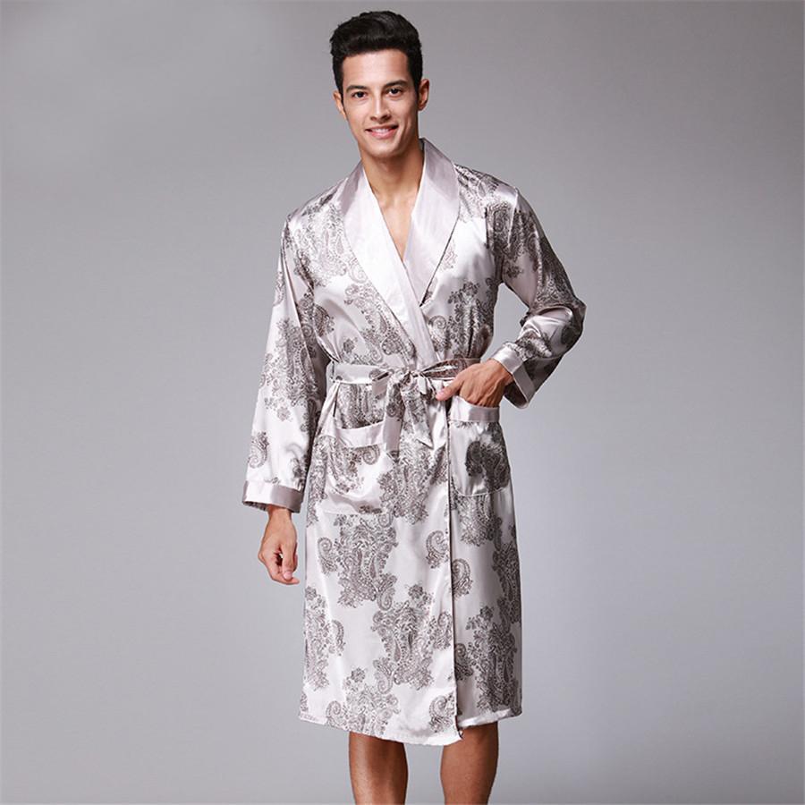 2019 Men Robe 2018 Spring New Kimono Bathrobe Gown Faux Silk Robes Long  Sleeve Home Clothes Male Sleewear Bath Geisha L XL XXL From Begonier c4ac0ab09