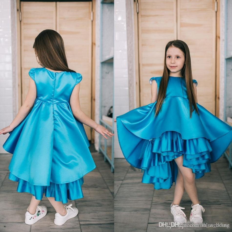 cc24f71baa1b Lovely Blue Satin Tiered Pageant Dresses For Teens Hi Lo Design Cap Sleeves  Liitle Girls Prom Dress Birthday Christmas Gown Mid Length Dresses For  Toddlers ...