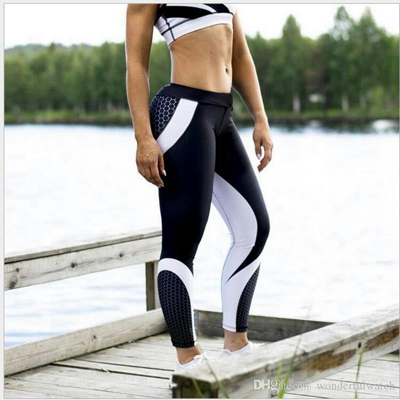 2018 Белая сетка шаблон печати леггинсы фитнес леггинсы для женщин спортивные тренировки леггинсы эластичный весна тонкий белый брюки AP193