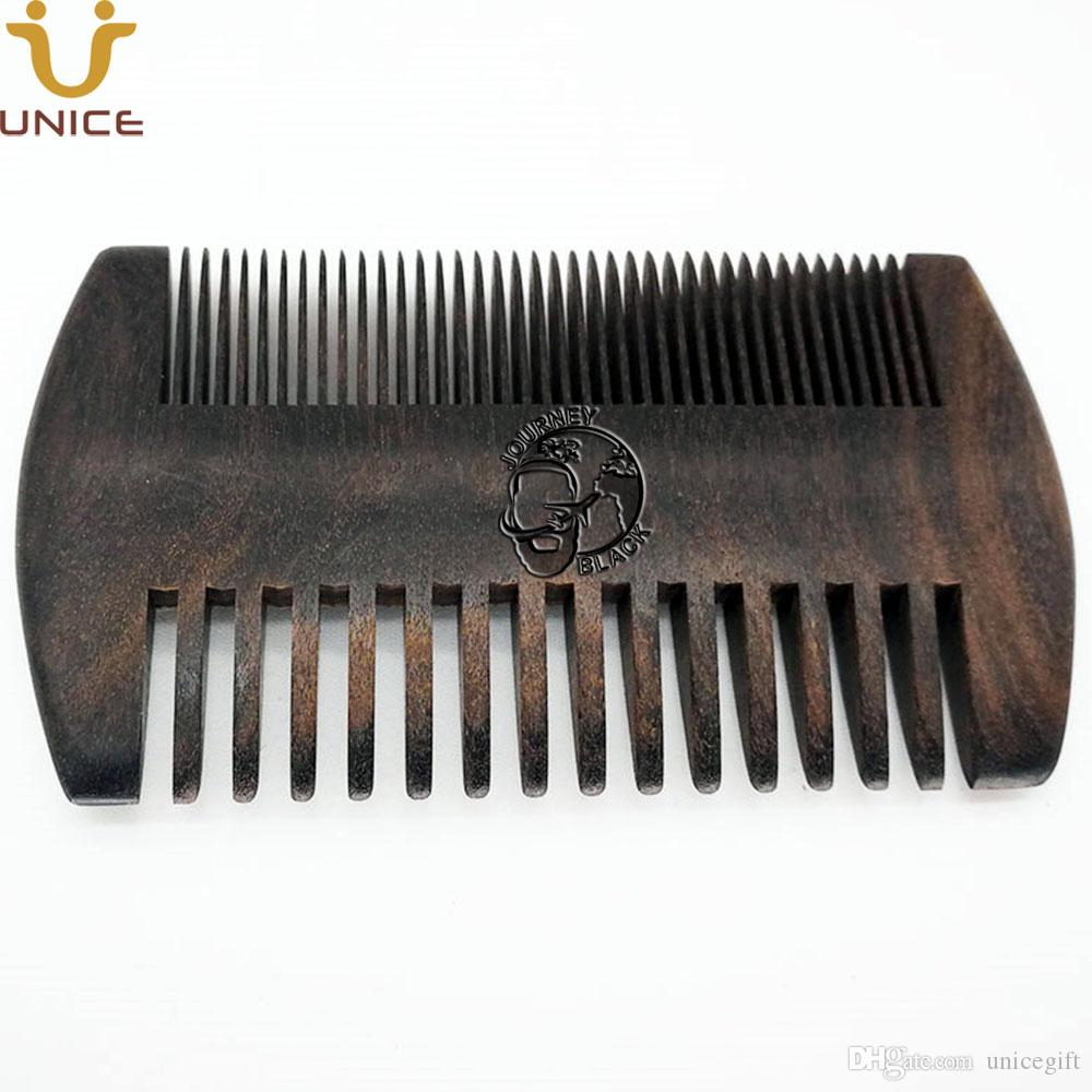 50pcs/lot Good Quality Private Label Carved Your LOGO Customized Black Wood  Men Beard Comb Fine & Teeth Coarse Ebony Blackwood Hair Comb